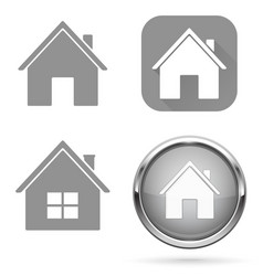 Home icons set grey signs and buttons vector