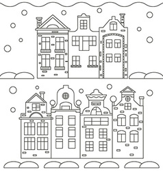 Icons linear Christmas houses vector