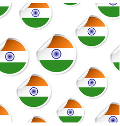 india flag sticker seamless pattern background vector image