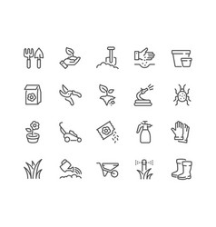 line gardening icons vector image