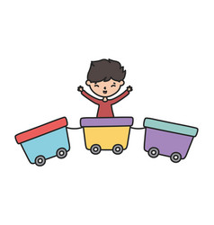 Little boy cartoon character playing in train vector