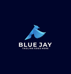 Logo bird blue jay gradient colorful style vector