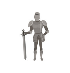 Medieval amed knight character standing with sword vector
