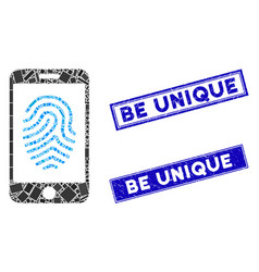 Mobile fingerprint authorization mosaic and grunge vector