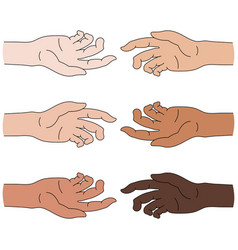multinational help race equality helping hand vector image
