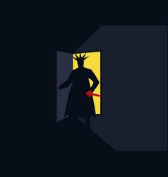 Murderer with the knife behind the door vector