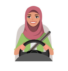 Muslim woman driving a car muslim woman wearing vector