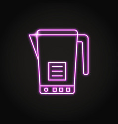 neon electric kettle icon in line style vector image