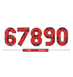 numbers typography red machinery style in a set vector image