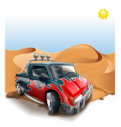 off-road cuv car on deserted hill vector image