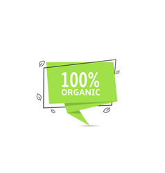 organic green sticker ecological product banner vector image
