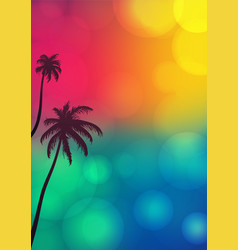 palm tree silhouettes with bokeh lights vector image