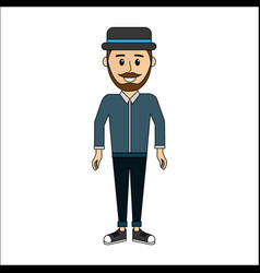 People man with casual cloth and hat avatar icon vector