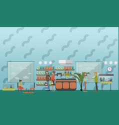 pet shop concept in flat style vector image