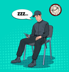 pop art guard man sleeping at work security worker vector image