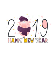Postcard with cute funny pig- symbol of the year vector