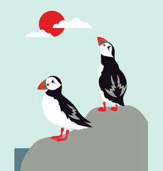 puffins on nordic landscape background vector image