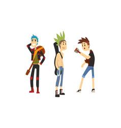 punk rock musicians characters set musical band vector image