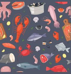 seafood sea fish shellfish and lobster on vector image
