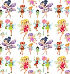 Seamless cute fairies flying vector