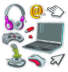 set computer technology laptop game joysticks vector image