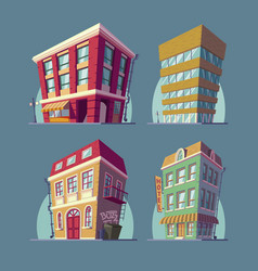 set of isometric icons buildings in cartoon vector image vector image