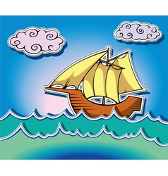 Ship at sea vector image