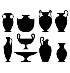 Silhouettes of ancient vases vector image