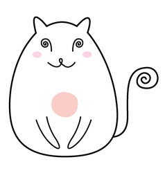 Simple Cat drawing character isolated on white vector