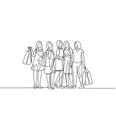 Single continuous line drawing group happy vector
