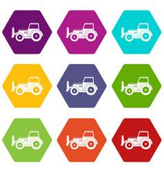 skid steer loader icon set color hexahedron vector image