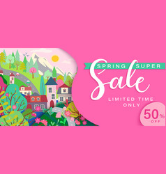 spring sale card with springtime landscape vector image