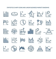 Statistics chart icons vector image