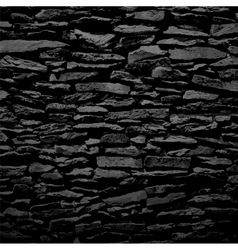 Stone wall black relief texture with shadow vector image