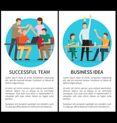 Successful team and business idea promo posters vector