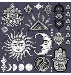 Sun moon and ornaments vintage set vector