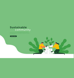 Sustainable community landing web page template vector