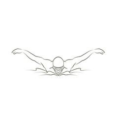 Swimming butterfly man swimming outline vector