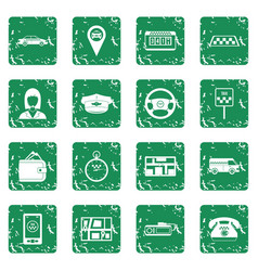 Taxi icons set grunge vector