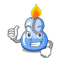 Thumbs up alcohol burner character cartoon vector