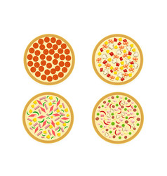 Top view set italian pizza on white vector