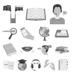 translator and linguist monochrome icons in set vector image vector image