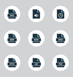 types icons set with raw audio file and other vector image