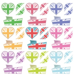 uk hearts and ribbons vector image