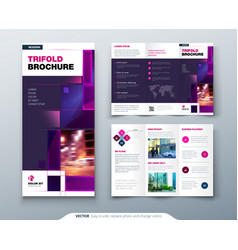 Violet tri fold brochure design with square shapes vector