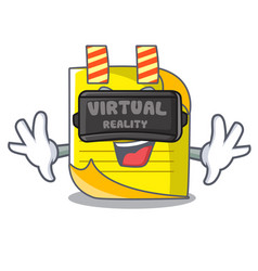 Virtual reality checked note paper mascot vector