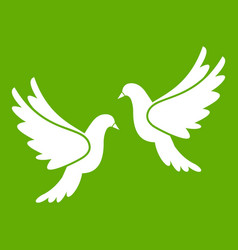 wedding doves icon green vector image
