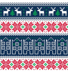 Winter christmas seamless pattern with reindeer vector image