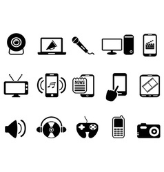 black modern mobile media icons set vector image