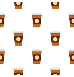 Brown paper coffee cup pattern seamless vector